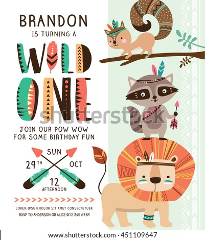 Kids birthday party invitation card cartoon stock vector 2018 kids birthday party invitation card with cartoon tribal animals stopboris Images