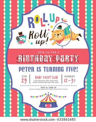 Kids Birthday Party Invitation Card Circus Stock Vector 632475695