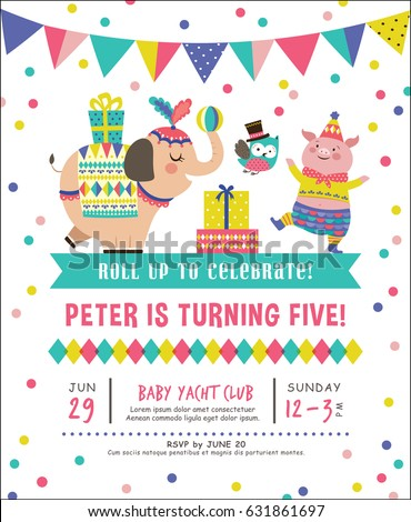 Kids birthday party invitation card circus stock vector 631861697 kids birthday party invitation card with circus theme filmwisefo