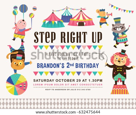 Kids birthday party invitation card circus em vetor stock 632475644 kids birthday party invitation card with circus theme stopboris Choice Image