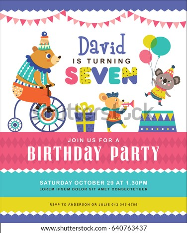Kids birthday party invitation card circus em vetor stock 640763437 kids birthday party invitation card with circus theme stopboris Image collections