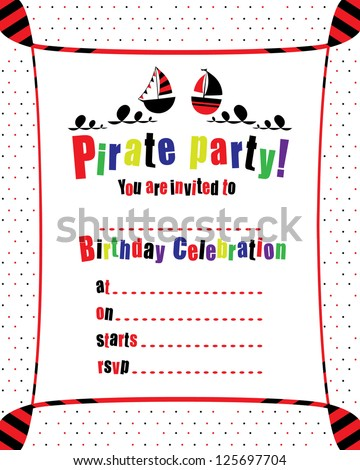 Kids birthday pirate party invitation vector stock vector 125697704 kids birthday pirate party invitation vector illustration stopboris Image collections