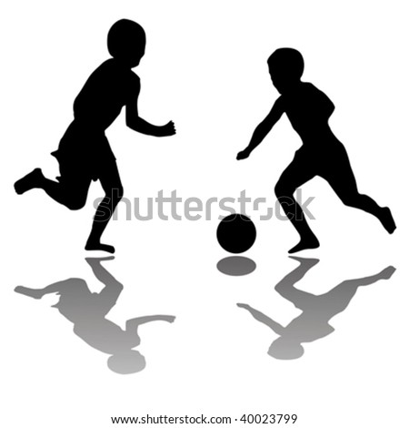 kids black playing soccer silhouettes isolated on white background, vector art illustration - stock vector
