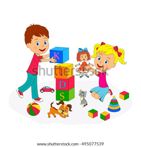 kids,boy and girl are playing,illustration,vector