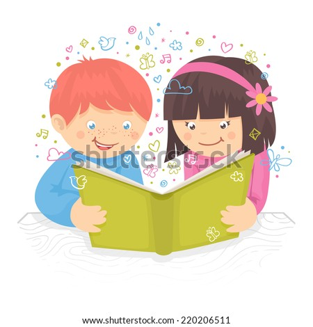 Kids boy and girl reading the book on table poster vector illustration - stock vector