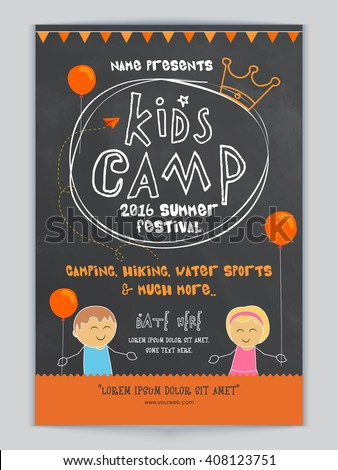 Kids Camp, Summer Festival celebration Template, Banner or Flyer design with illustration of cute kids and party details. - stock vector