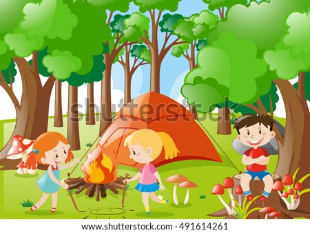 Kids Camping Out In The Woods Illustration