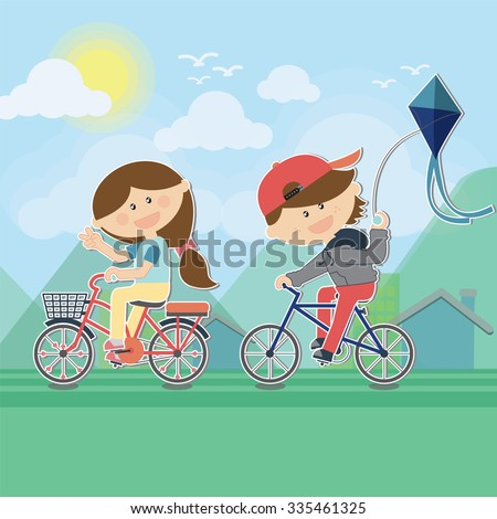 kids cartoon characters cyclists, cycling playing kite on bicycle sunny mountains while pedaling cute bike with pannier rack for health, vector illustration
