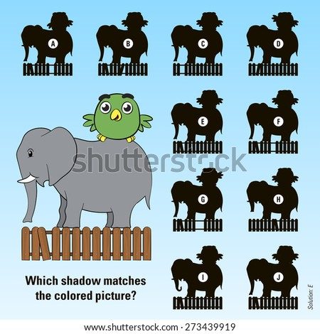 Kids cartoon puzzle - match the shadow of a cute little green bird riding on the back of its friend the elephant above a wooden picket fence with ten variations of shadow to choose from, vector design - stock vector