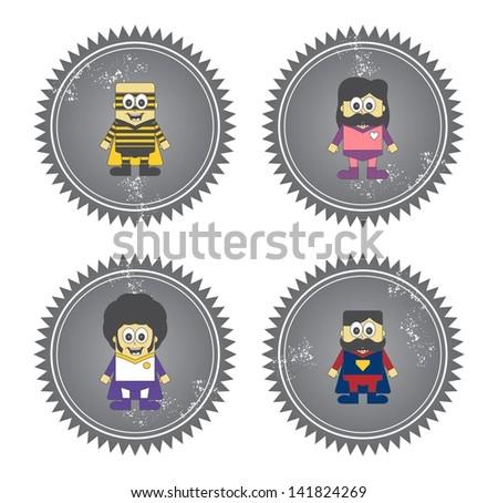 kids cartoon super hero set label - stock vector
