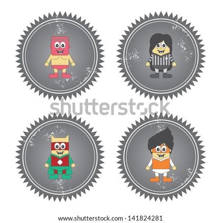 kids cartoon super hero set label grey - stock vector