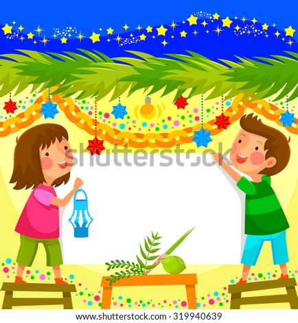 kids celebrating sukkoth in a decorated booth - stock vector