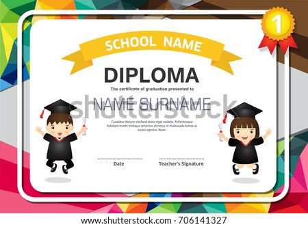 Kids Certificate Polygonal Style Colorful Lovely Childrens ...
