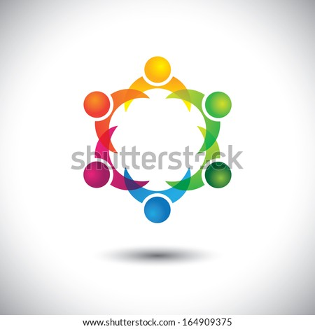 kids & children playing together - people concept vector. This abstract graphic can also represent support group meeting, students learning, community unity, management strategy & planning, etc - stock vector