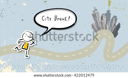Kids city break, summer travel tourism. Smiling kid with speech bubble. Doodle style Vector illustration. - stock vector