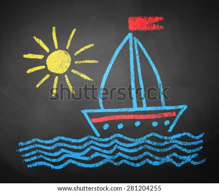 Kids color chalked drawing of seaside, ship and sun on school blackboard background. - stock vector