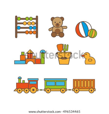 Kids color toys. KIds toys vector illustration. Kids toys isolated on white background. Kids toys icons isolated vector.