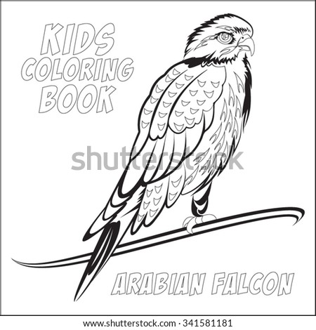 Kids Coloring Book Blank Arabian Falcon Stock Vector 2018