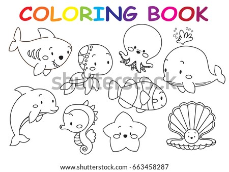 Kids Coloring Page Collection Of Cute Sea Animals Outline