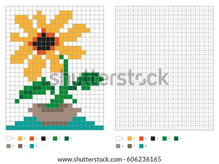 kids coloring page pixel coloring home plant in vase vector illustration