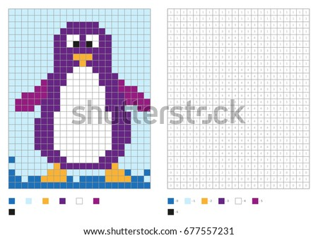kids coloring page pixel coloring with fun bird vector illustration
