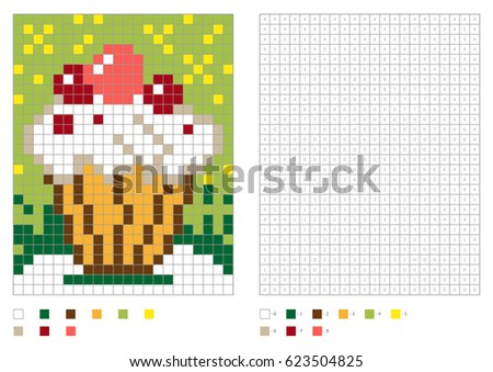 kids coloring page pixel coloring with numbered squares cake with cream and berries