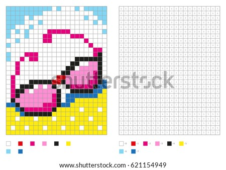kids coloring page pixel coloring with numbered squares pink glasses vector illustration