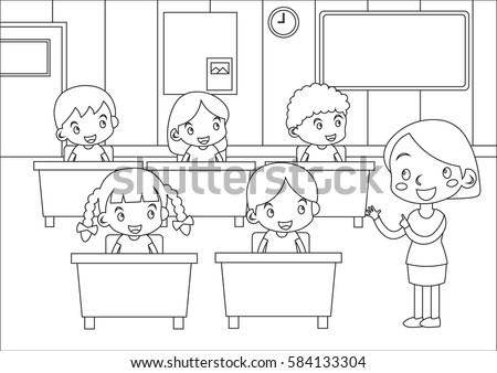 Kids Coloring Page Students Teacher Classroom Stock Vector 584133304