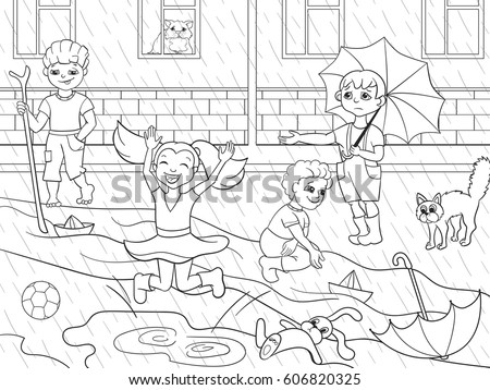 Child Playing In Rain Stock Images Royalty Free Images