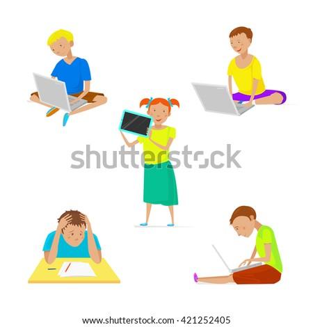 Kids computer, Kids computer, Kids computer, Kids computer, Kids computer, Kids computer, Kids computer, Kids computer, Kids computer, Kids computer, Kids computer, Kids computer, Kids computer. - stock vector