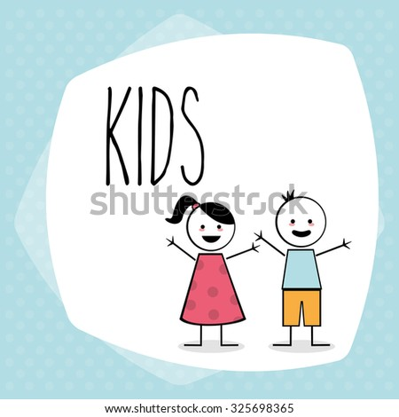 Kids concept with childrens design, vector illustration 10 eps graphic. - stock vector