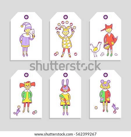 Kids Costume Party Set Cute Printable Stock Vector 562399267 ...