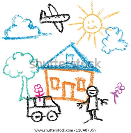 Kids Crayon Drawing of sunny day house and man and car - stock vector