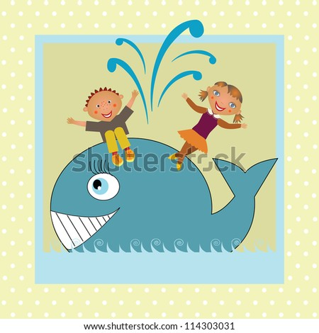 kids dancing on whale - stock vector