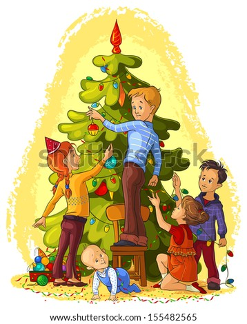 Kids Decorating a Christmas Tree. Christmas and New Year theme. Also available raster version - stock vector