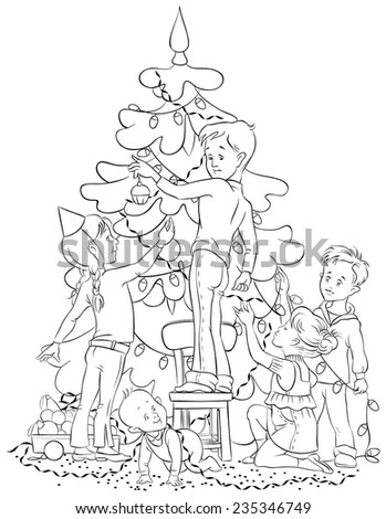 Kids Decorating a Christmas Tree. Colouring page. Also available colored version - stock vector