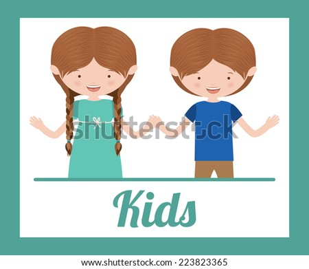 Kids design over blue background, vector illustration - stock vector