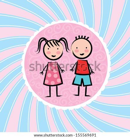 kids design over grunge background vector illustration - stock vector