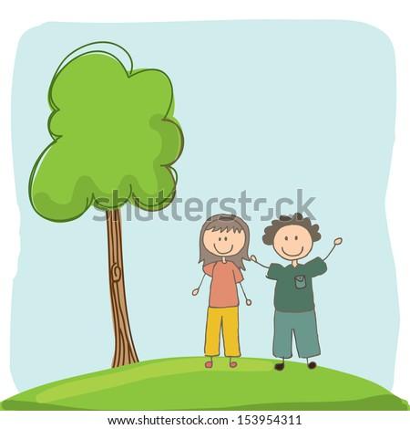 kids design over landscape background vector illustration - stock vector