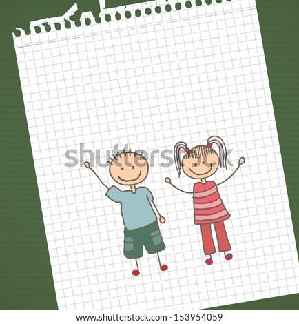 kids design over  leaf book background vector illustration - stock vector