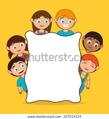 Kids design over yellow background, vector illustration. - stock vector