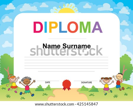 Kids diploma certificate background design template stock vector kids diploma certificate background design template vector illustration yadclub Choice Image