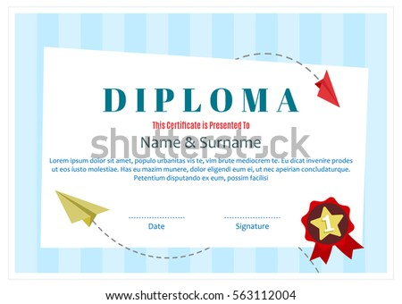 Kids diploma certificate layout template school stock vector kids diploma certificate layout template for school preschool kindergarten background design vector yadclub Gallery