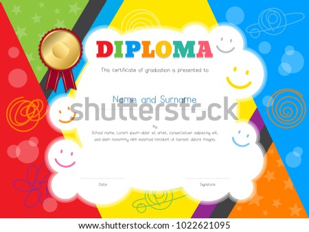 Kids Diploma Or Certificate Template With Colorful And Hand Drawing  Background Border  Certificate Template For Kids
