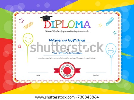kids diploma certificate template hand drawingのベクター画像素材