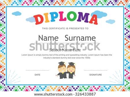 Kids Diploma Preschool Certificate Elementary School Vector – Sample Certificates for Kids