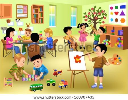 kids doing different activities in kindergarten - stock vector