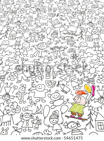 Kids doodles like kids drawing styled - stock vector