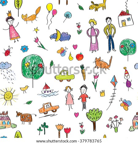 Kids drawing funny seamless pattern - cute vector illustration