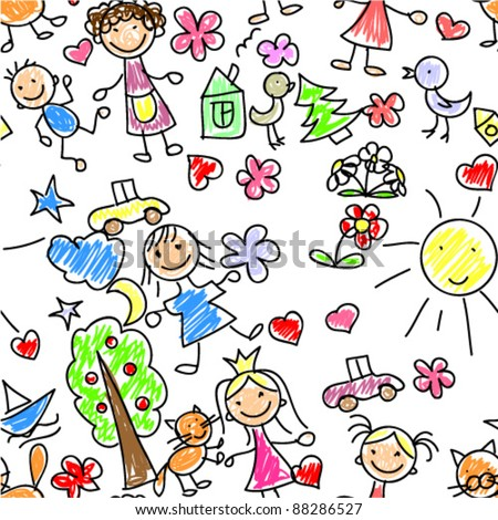 kids drawing seamless pattern